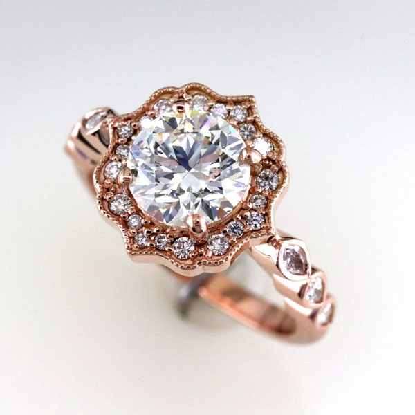 Custom styled halo rose gold ring 1