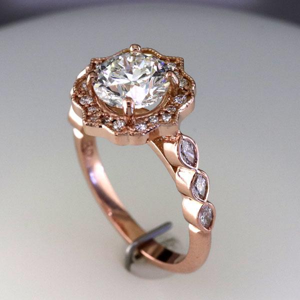 Custom styled halo rose gold ring 2