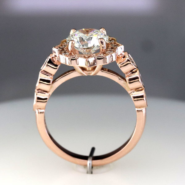 Custom styled halo rose gold ring 3