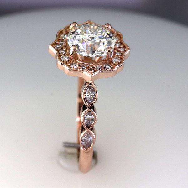 Custom styled halo rose gold ring 4