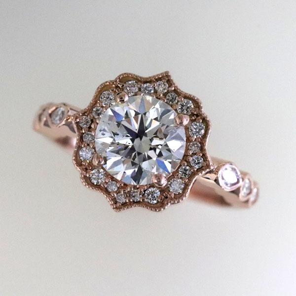 Custom styled halo rose gold ring 5