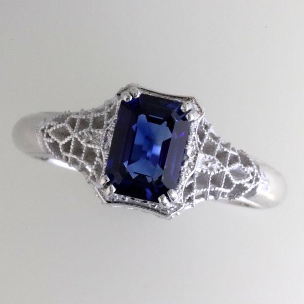 Filigree sapphire engagement ring 2