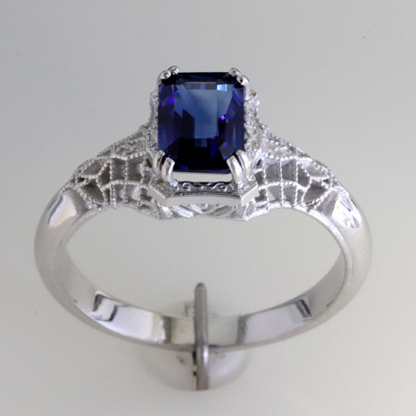 Filigree sapphire engagement ring 3