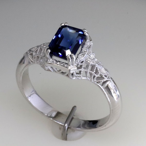 Filigree sapphire engagement ring 4