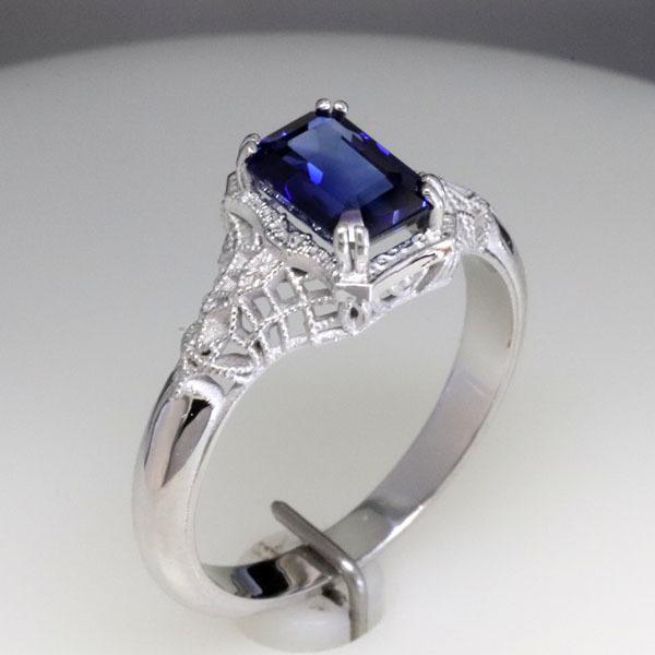 Filigree sapphire engagement ring 5