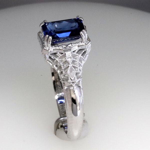 Filigree sapphire engagement ring 6