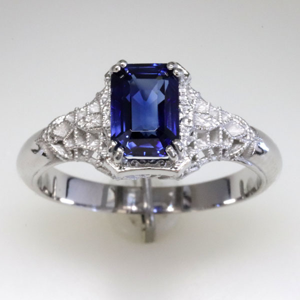 Filigree sapphire engagement ring 7