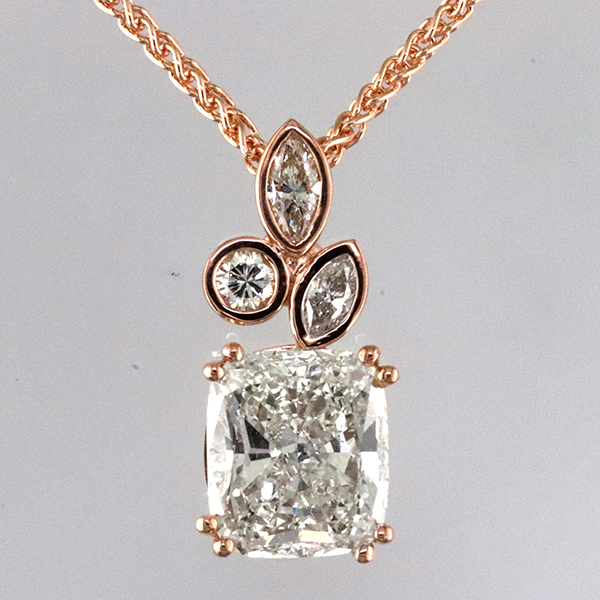 5 carat cushion cut pendant