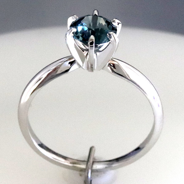 Solitaire blue green sapphire montana engagement ring 2