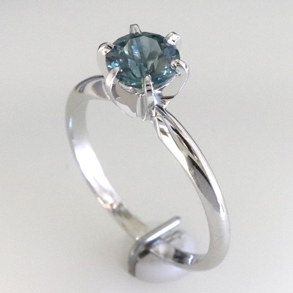 Solitaire blue green sapphire montana engagement ring 1