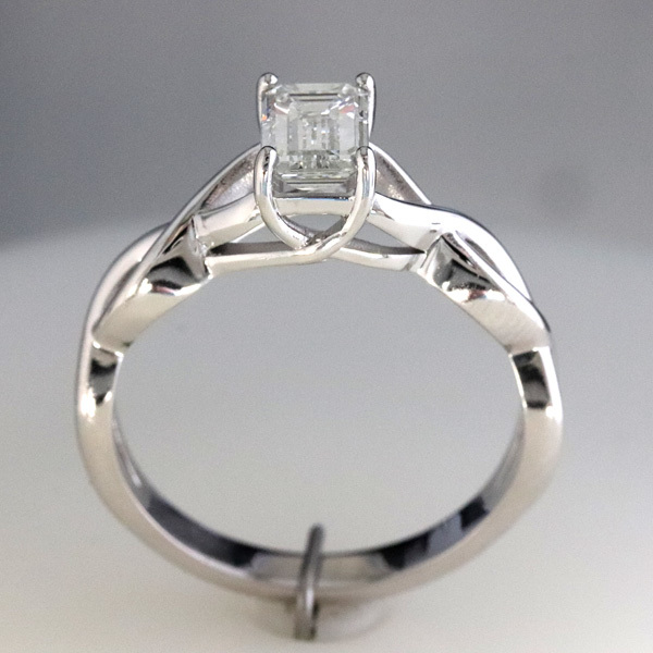 1 carat emerald cut diamond infinity engagement ring 3