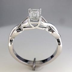1 carat emerald cut diamond infinity engagement ring 3