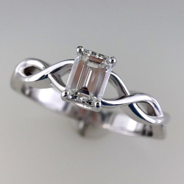 1 carat emerald cut diamond infinity engagement ring 4