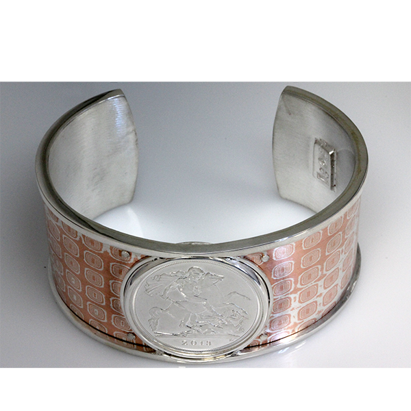 Mens dragon coin cuff bracelet 3