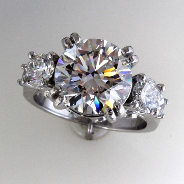 Accented 3 carat round diamond engagement ring 1