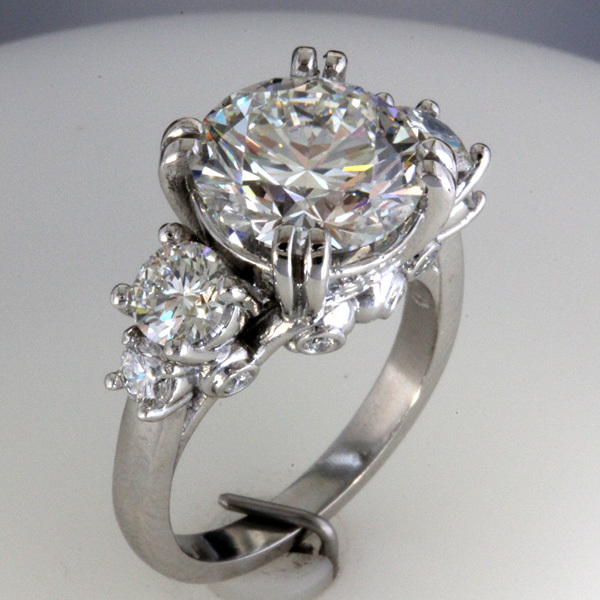 Accented 3 carat round diamond engagement ring 4