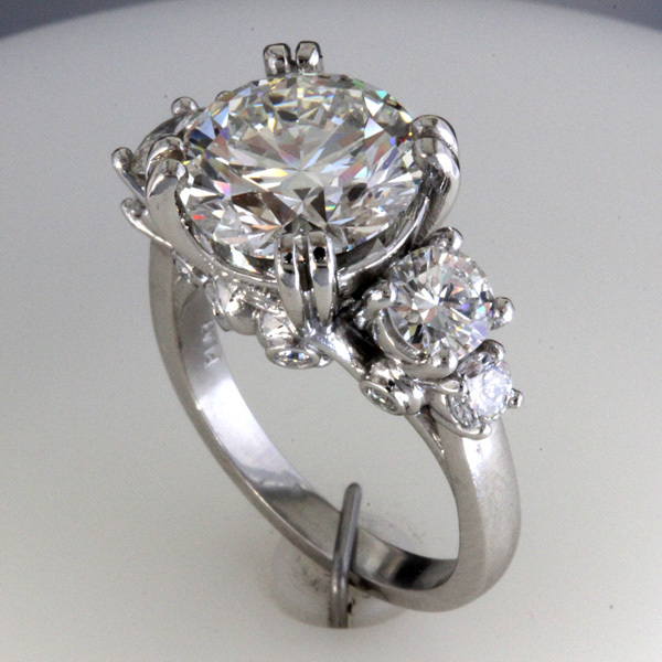 Accented 3 carat round diamond engagement ring 3
