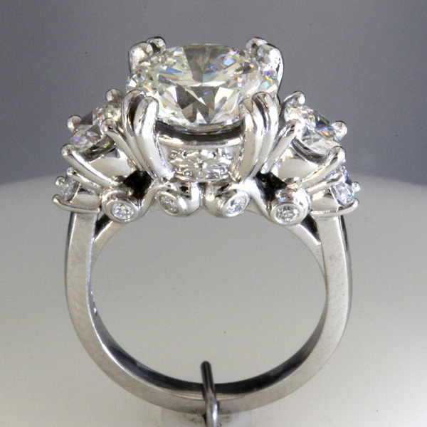 Accented 3 carat round diamond engagement ring 2