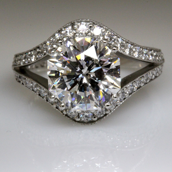 3 carat octagon diamond split shank wedding ring