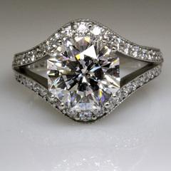 3 carat octagon diamond split shank wedding ring