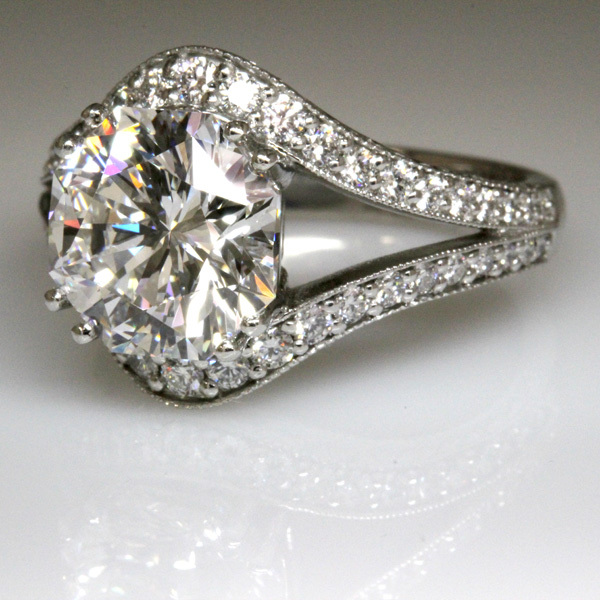 3 carat octagon diamond split shank wedding ring 2