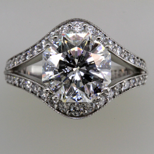 3 carat octagon diamond split shank wedding ring 3
