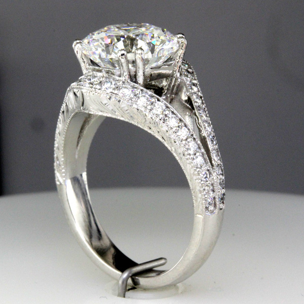 3 carat octagon diamond split shank wedding ring 4