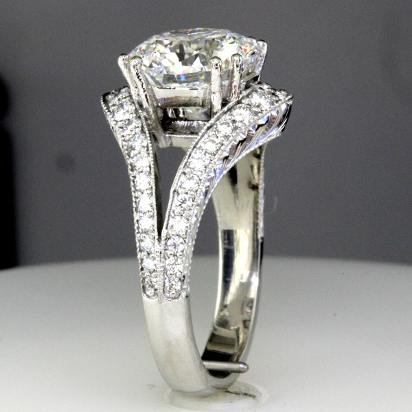 3 carat octagon diamond split shank wedding ring 5