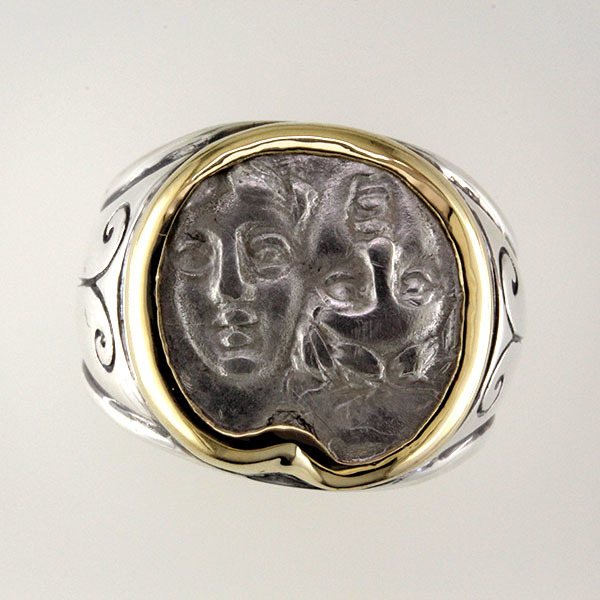 Greek coin ring silver 1