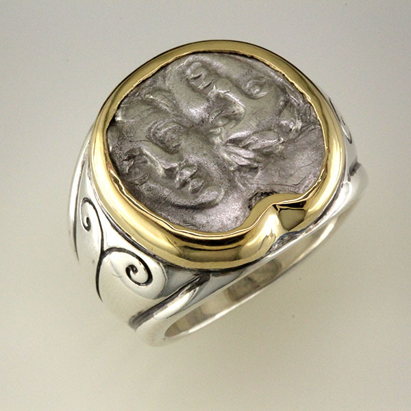 Greek coin ring silver 2
