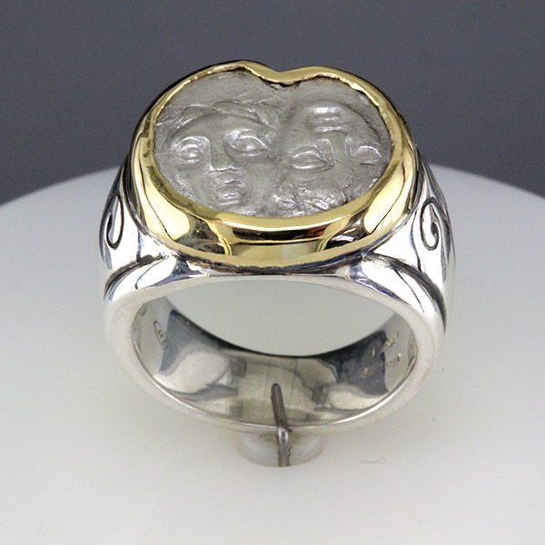 Greek coin ring silver 3