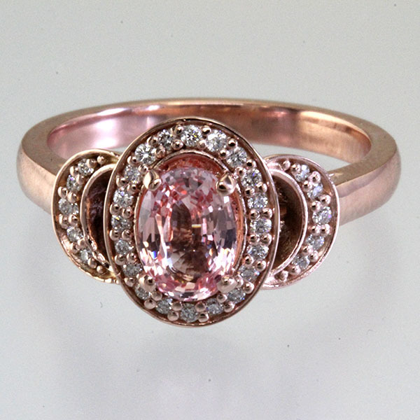 Peach sapphire oval halo engagement ring 0