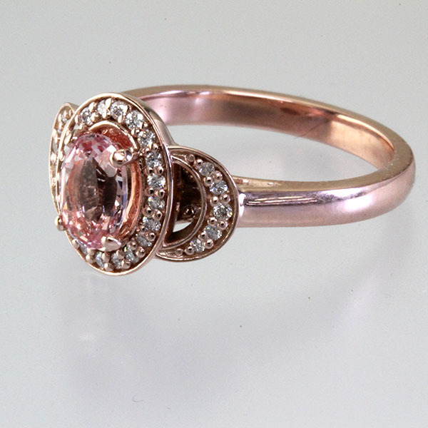 Peach sapphire oval halo engagement ring 3