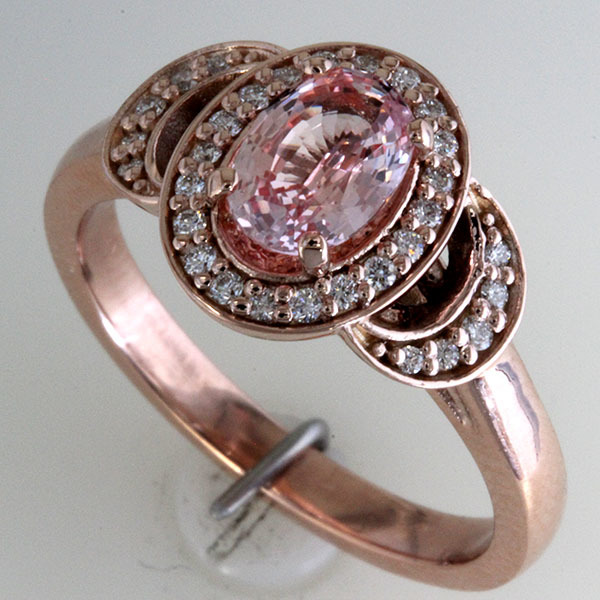 Peach sapphire oval halo engagement ring 4
