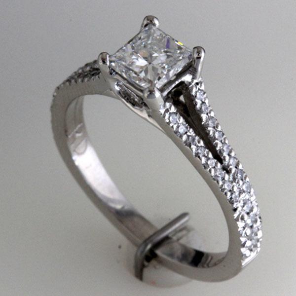 Princess cut engagement ring split shank 1