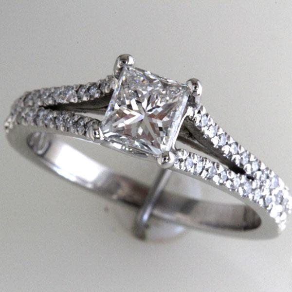 Princess cut engagement ring split shank 7