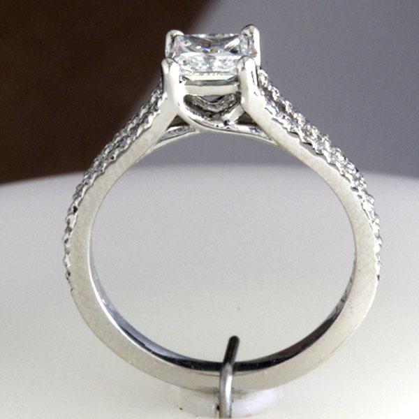 Princess cut engagement ring split shank 9