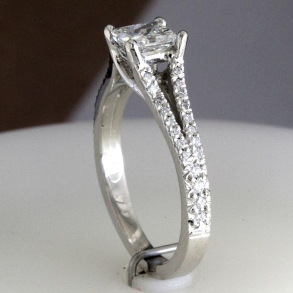 Princess cut engagement ring split shank 10