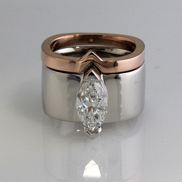 2 carat marquise diamond wide engagement ring 1