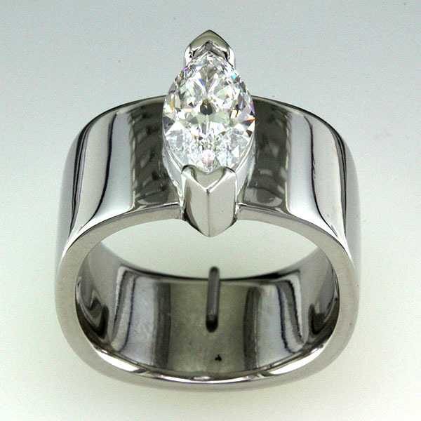 2 carat marquise diamond wide engagement ring 2
