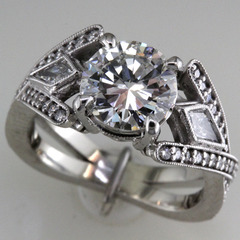 Kite shaped diamond engagement ring 1