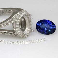Sapphire engagement ring halo diamond 1