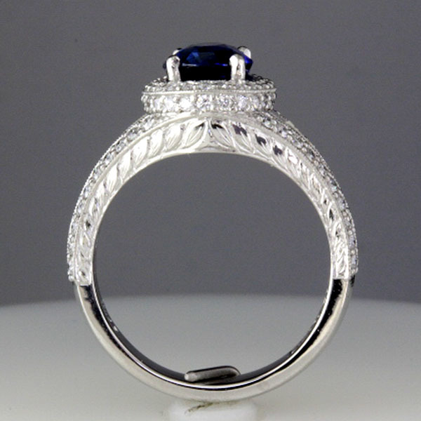 Sapphire engagement ring halo diamond 3