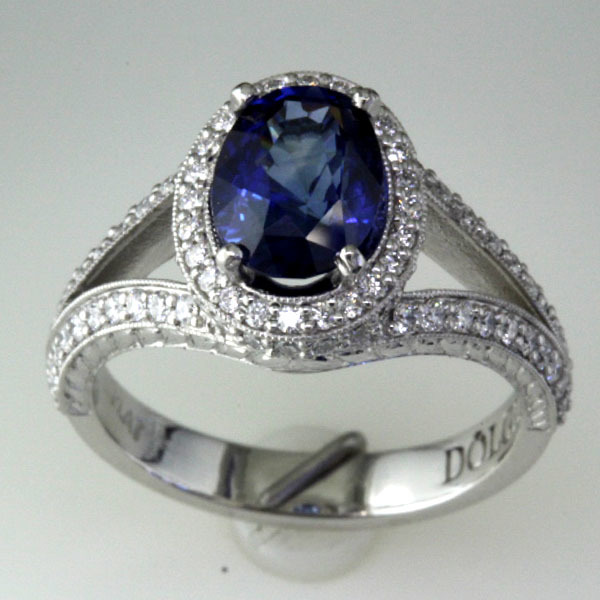 Sapphire engagement ring halo diamond 5