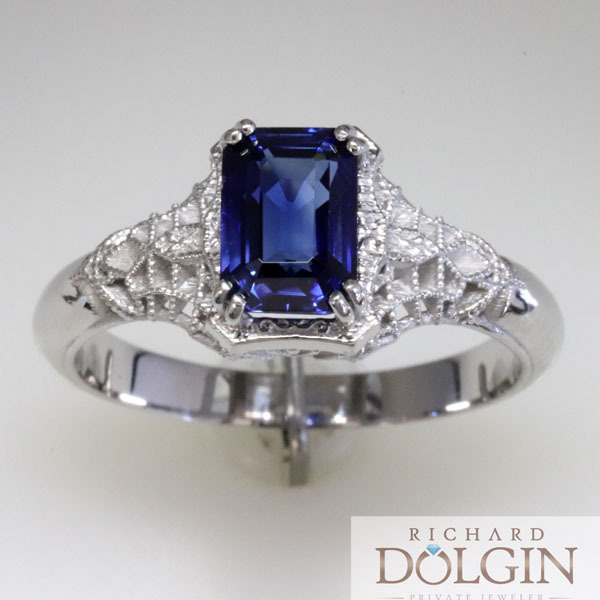 Filigree sapphire vintage style engagement ring 0