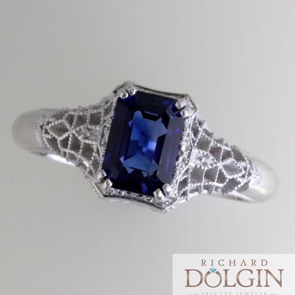Filigree sapphire vintage style engagement ring 3