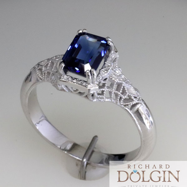 Filigree sapphire vintage style engagement ring 4