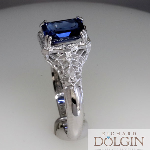 Filigree sapphire vintage style engagement ring 5